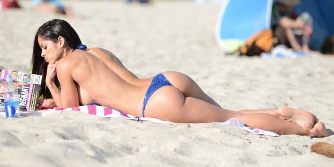 EXCLUSIVE: Michelle Lewin, a Venezuelan fitness model, shows off her fit figure in a Vizcaya Luxury Bikini on Miami Beach